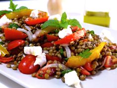Delicious Greek Lentil Salad Recipe with Feta cheese (Fakes Salata) - My Greek Dish