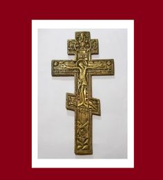 Authentic Antique Russian Brass Orthodox Cross    by Miltiadis