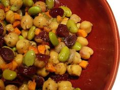 Edamame and Chickpea Salad: Soy is a great source of protein; a 1/2 cup of edamame contains about 11 grams of it. And like other legumes, chickpeas are a good protein source as well, so mix together a flavorful combination of the two  like this edamame, chickpea, and cranberry salad  for an easy post-gym snack. Source: Flickr User norwichnuts