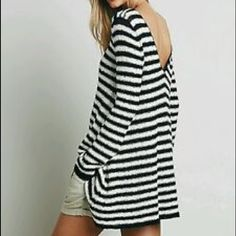 NWT Free People Counting Stripes tunic dress! This is precious! Light sweater material in a swing cut with a v in back- cute bell sleeves to roll up or down- so many options with this dress! Free People Dresses