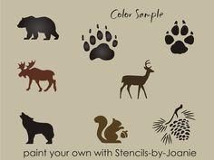 Rustic Animal STENCIL Bear Wolf Deer Moose Track Hunt Pinecone Art Cabin Signs  #DesignsbyJoanie