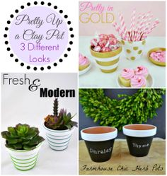 Pretty Up a Clay Pot - 3 Different Looks - Pinterest Party