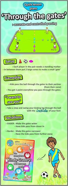 Kindergarten to Grade 2 PE Games – Complete Sport Skill and Games Pack 2018 How to teach score and passing skills › The best PE lesson ideas – There's loads of soccer lesson plans to help you teach sport at school Fun Soccer Games, Soccer Drills For Kids, Soccer Practice Plans, Soccer Passing Drills, Fitness Games For Kids, Exercise For Kids, Gym Games For Kids, Kids Fitness, Bean Bag Games For Pe
