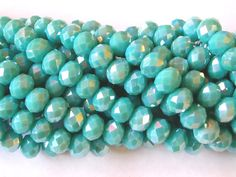 Aqua Crystal Beads  6x8mm 70 Beads by wimsy on Etsy (Craft Supplies & Tools, Jewelry & Beading Supplies, Beads, aqua crystal beads, aqua beads, 6x8mm aqua beads, 6x8mm aqua crystal, opaque aqua beads, 70 aqua beads, faceted aqua beads, wimsy)