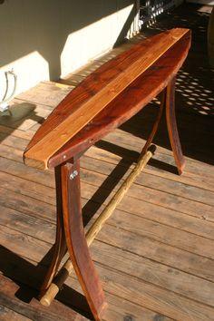 Reclaimed Wood Surfboard Bar Table. $200.00, via Etsy.