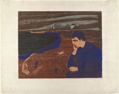 """Edvard Munch. Melancholy III (Melankoli III). 1902. Woodcut with gouache additions. composition: 14 3/4 x 18 9/16"""" (37.5 x 47.2 cm); sheet: 20 1/2 x 25 7/8"""" (52 x 65.8 cm). the artist, Berlin. M.W. Lassally, Berlin. more than 100 impressions. The William B. Jaffe and Evelyn A.J. Hall Collection. 1197.1968. © 2016 The Munch Museum / The Munch-Ellingsen Group / Artists Rights Society (ARS), New York. Drawings and Prints MoMa nyc"""