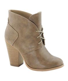 Look at this Anna Shoes Taupe Diane Bootie on #zulily today!