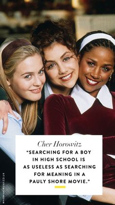 Where were you when you saw Clueless for the first time? Behold the best Clueless quotes from none other than Cher Horowitz. Cher Quotes, Clueless Quotes, Clueless 1995, Clueless Outfits, Clueless Fashion, Film Quotes, 80s Movie Quotes, Movie Posters, Cher Horowitz