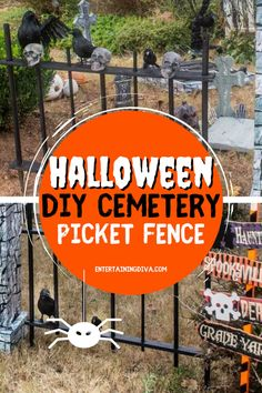 Looking for the scariest outdoor Halloween decor ideas? Here's the Halloween cemetery picket fence outdoor decor idea and a step-by-step guide that you can easily make to have the best yard haunt in the neighborhood! #halloweenobsession #halloweencemetery #yardhaunt #diyhalloween #halloween Diy Halloween Fence, Diy Halloween Graveyard, Outdoor Halloween, Halloween Ideas, Halloween Party, Cemetary Decorations, Halloween Decorations, Outdoor Decorations, Different Shades Of Black