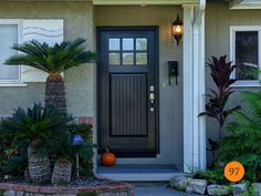Single Fiberglass Chord Craftsman Entry Door size 3 Ft / Therma-Tru Classic Craft model factory painted Inkwell with glass. Installed in La Habra, CA home. Cottage Style Front Doors, Craftsman Style Front Doors, Craftsman Door, Exterior Front Doors, Exterior Paint, Double Entry Doors, Front Entry, Front Porch, Basement Doors