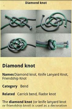 "Paracord, my new obsession. Diamond Knot - This decorative stopper knot can be used as the ""button"" closure for paracord bracelets. Paracord Tutorial, Paracord Knots, Rope Knots, Macrame Knots, Paracord Bracelets, Survival Bracelets, Hemp Bracelets, Lanyard Knot, Friendship Knot"