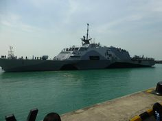 USS Freedom(LCS 1)photo US Embassy Singapore.Littoral Combat Ships are significantly smaller,less well-armed,& less resistant to damage than the Navy's workhorse DDG-51 Arleigh Burke destroyers.For that reason,they're less intimidating to partners whose navies often resemble the US Coast Guard more than the US Navy's battle fleet.The ship also has a significantly shallower draft than other warships,giving it better access to coastal waters