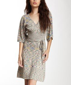 Take a look at this Blue & Tan Iguana Surplice Dress by Stacia on #zulily today!