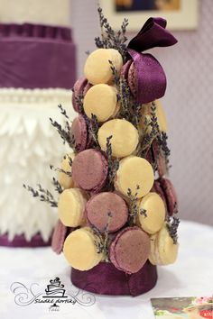 macarons tower lavender, purple
