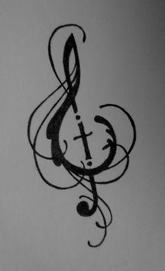 Music and Cross design by ~Lamorien on deviantART//tattoo