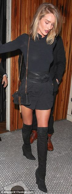 Supermodel style: Despite the late night partying, Rosie still managed to look incredible ...