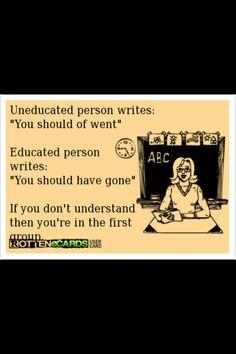 Grammar:  should of went = should have gone