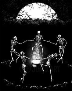 Skeleton Love, Skeleton Dance, Skeleton Art, Circle Art, Magic Circle, Danse Macabre, Occult Art, Sad Wallpaper, Art Friend