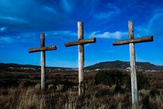 crosses on a hill in new mexico