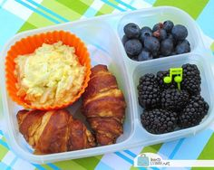 Egg Salad & Croissants packed for lunch! #easylunchboxes containers