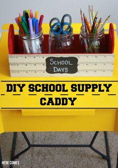 A DIY School Supply Caddy keeps the kids' desks organized and important supplies within reach. Chalkboard Mason Jars, Chalkboard Labels, Diy School Supplies, School Projects, Diy Projects, Teacher Appreciation Gifts, Teacher Gifts, Teacher Stuff, School Supply Caddy