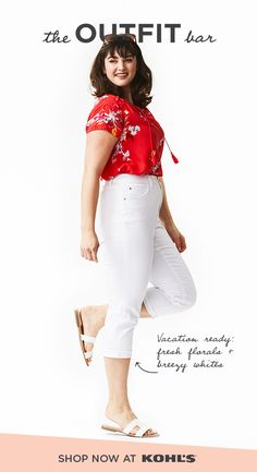 c4d12cc57 Get vacation outfits from The Outfit Bar at Kohl's. A bright floral top  with white