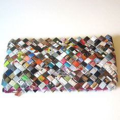 For Eco Mother's Day Rescued Junk Mail Fashion Clutch Lined with Pink by LaAlicia, $99.00