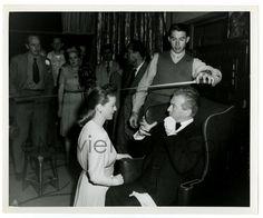 """Bette Davis & Claude Rains on the set of """"Deception"""""""