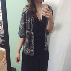 Butterfly Cardigan Black and grey patterned butterfly short sleeve cardigan. Tops