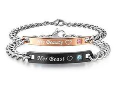 His or Hers Matching Set His Beauty Her Beast Titanium Stainless Steel Couple...  | eBay
