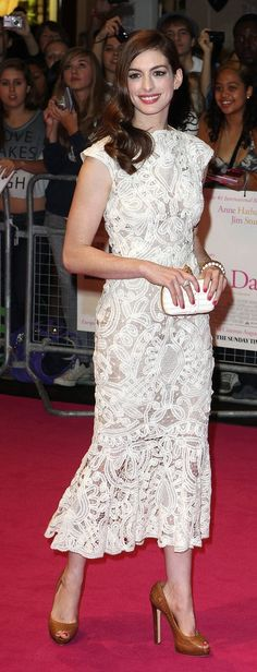 We adore Anne Hathaway's feminine white dress