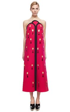 A Line Bi Color Dress With Embroidery by DELPOZO for Preorder on Moda Operandi