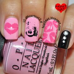 Cute! (I want the big lips stamp.) | heartnat: Marilyn Monroe Mani with GLAM 01