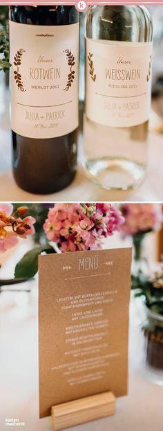 Papeterie im Vintage Look: Die Serie Rustic Love aus Kraftpapier. Passend dazu Etiketten für euren Wein. So hat euer Hochzeitstisch einen perfekten Rahmen.