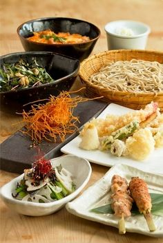 Japanese meal with soba and tempura