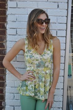Spring peplum top $37 paired with mint green skinnys $38