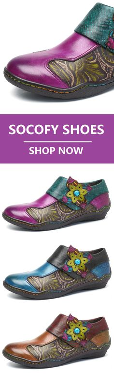 35100262c75650 SOCOFY New Printing Splicing Plant Pattern Hook Loop Flat Leather Shoes.