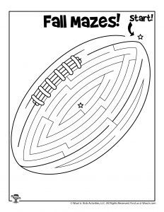 Printable Fall Mazes for Kids | Woo! Jr. Kids Activities : Children's Publishing Printable Puzzles For Kids, Mazes For Kids, Fall Football, Football Season, Activity Sheets For Kids, Maze Puzzles, Color Puzzle, Brain Teasers, Vocabulary
