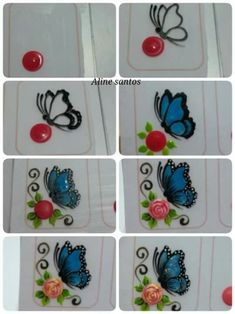 124 Pegatinas y Stickers para Uñas con brillos y figuras | Información imágenes Butterfly Nail Designs, Butterfly Nail Art, Flower Nail Art, Nail Art Designs, 3d Nails, Nail Manicure, Country Nails, Animal Nail Art, Nail Art Galleries