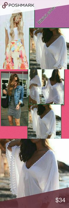 BIKINI COVERUP NWOT A VERY LIGHT COVERUP  THATS SHEER. HAS LACE ALL AROUND, AND WOULD FIT A SIZE MEDIUM TO A LARGE. VERY ELEGANT?? Rue21 Swim Coverups