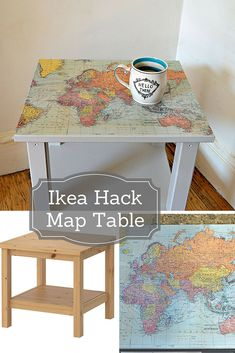 Ikea Hack Map Table - It is so easy to upcycle and transform a plain Ikea side t. Ikea Hack Map Table - It is so easy to upcycle and transform a plain Ikea side table with some map wrapping paper and make this gorgeous map table. Upcycled Furniture, Furniture Projects, Furniture Makeover, Painted Furniture, Diy Projects, Furniture Legs, Furniture Design, Garden Furniture, Decopage Furniture
