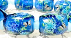 https://www.etsy.com/shop/AyakoGlassGarden new item for etsy Teal & Blue Pincushion Flower with Butterfly Satake Glass Lampwork beads set