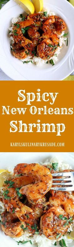 Spicy New Orleans Shrimp. The incredibly flavorful marinade is spicy, but not overpowering. You will want to savor every drop of it! Serve shrimp on its own, over rice, or with crusty bread for dipping #seafood #shrimp #marinade #spicy #baked #spicyneworleansshrimp #karylskulinarykrusade