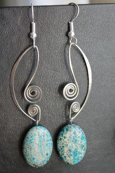 Lovely Blue Jasper Oval Earrings