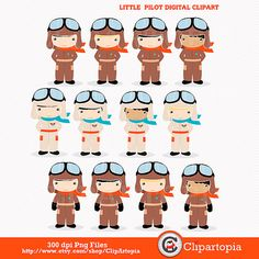 50% OFF SALE Little Pilot digital clipart / Aviator by ClipArtopia