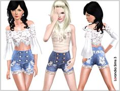 Lace distressed high waisted denim shorts for your Sims 3 females summer casual wardrobe, 3 recolorable areas, 2 color variations, custom th...
