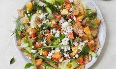 Thomasina Miers' peach fattoush - I once had a wonderful guacamole in Mexico that used peach instead of tomato, so I've applied the same thought processes to this summery take on one of my favourite Middle Eastern salads.