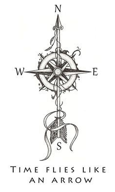 """""""Time flies like an arrow"""" by Beatrizxe Illustration based in a tattoo style. A compass is pierced by an arrow."""