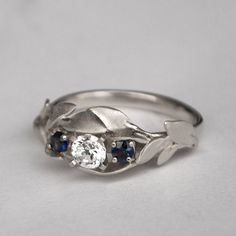 Leaves Engagement Ring No. 8 14K White Gold and by doronmerav
