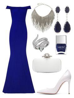 """Blue Elegant Outfit 2015"" by diamondanna ❤ liked on Polyvore featuring BCBGMAXAZRIA, Gianvito Rossi, Safiyaa, Oscar de la Renta, Judith Ripka, Effy Jewelry and Nails Inc."